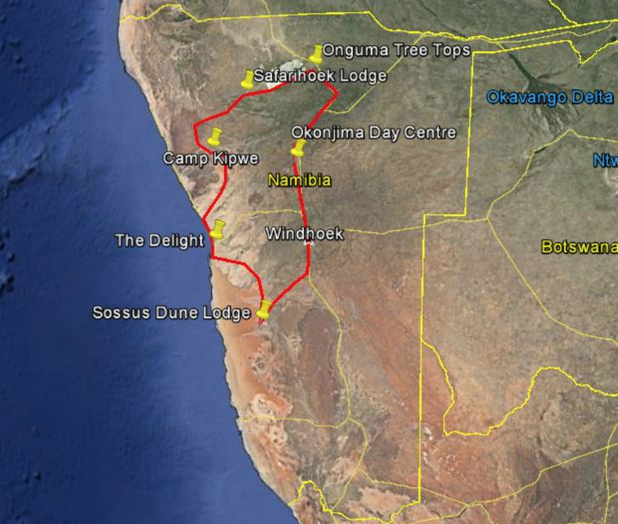 Map of itinerary Namibia
